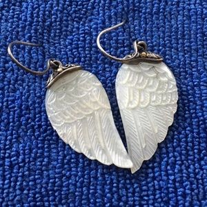 Bali Designs Carved Angel Wings Earrings